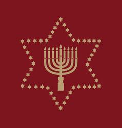 hanukkah david star jewish holiday symbol flat vector image
