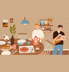 happy family homosexual couple cooking dinner vector image