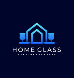home glass template vector image