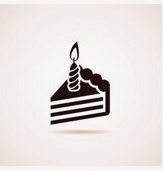 icon birthday cake slice with burning candle vector image
