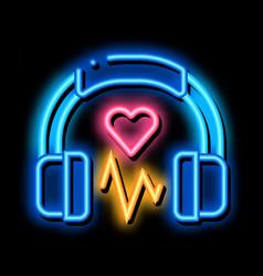 Influence on heart music neon glow icon vector
