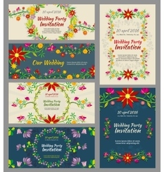 invitation wedding cards with floral elements vector image