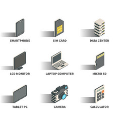 Isometric 3d web icon set vector