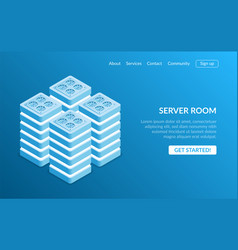 isometric server room and big data processing vector image