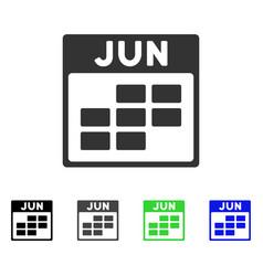 june calendar grid flat icon vector image