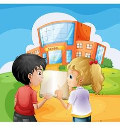 Kids arguing in front school building vector