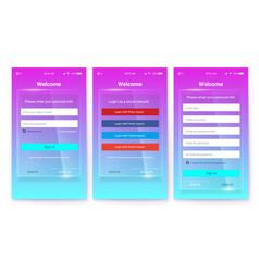 Kit of ux screen on glass background register or vector
