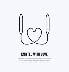 knit shop line logo yarn store flat sign vector image