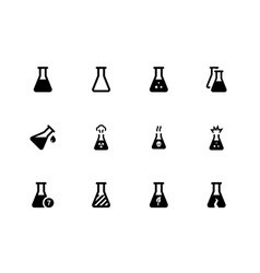 Laboratory flask icons on white background vector