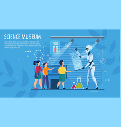 Landing page layout inviting to science museum vector