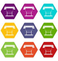 Large format inkjet printer icon set color vector