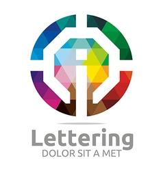 lettering i rainbow alphabet design vector image