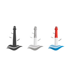 lighthouse and ocean waves logo icon set in flat vector image