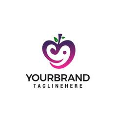 love fruit logo design concept template vector image
