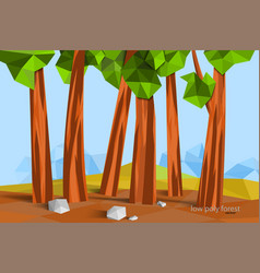 Low poly forest scene vector