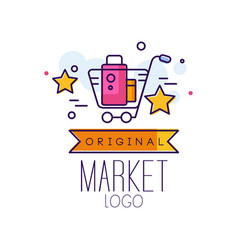 market original logo bright sale badge with vector image
