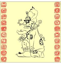Maya deity sun vector