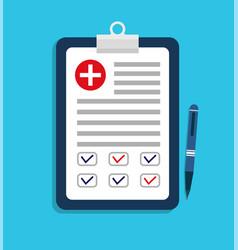 Medic plan medical test health form doctor vector