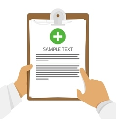 Medical clipboard in hands vector image