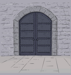 Medieval castle doors hand drawn sketch vector