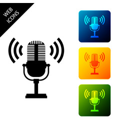 microphone icon isolated on air radio mic vector image