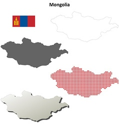 Mongolia outline map set vector