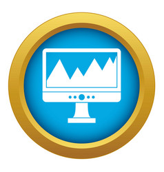 Monitor and a chart icon blue isolated vector