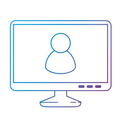 monitor computer with user avatar vector image