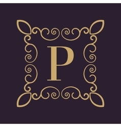 Monogram letter P Calligraphic ornament Gold vector