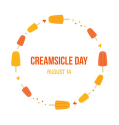 National creamsicle day card round frame vector