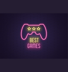 Neon composition headline best games gaming vector