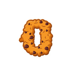 Number 0 cookies font oatmeal biscuit alphabet vector