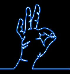 One continuous line hand showing ok gesture neon vector