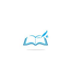 Open book write logo vector