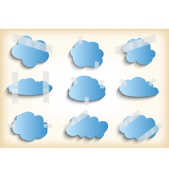 Paper cloud with scotch tape collection vector image vector image
