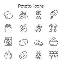 potato icon set in thin line style vector image