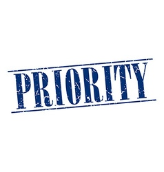 Priority blue grunge vintage stamp isolated on vector