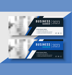 professional blue business banners with image vector image