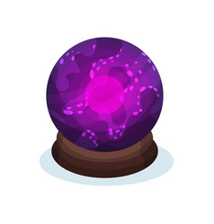 Purple glass sphere with bright pink glowing vector