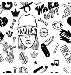 Rap music hip hop doodle pattern with rap vector