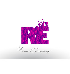 Re r e dots letter logo with purple bubbles vector