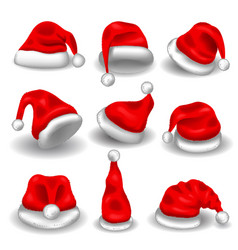 realistic christmas santa claus red hats isolated vector image