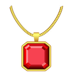 red ruby jewelry icon realistic style vector image