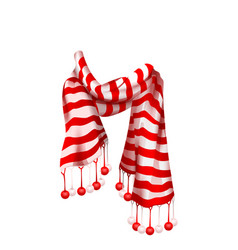 Red striped santa claus scarf christmas accessory vector