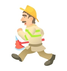 Running firefighter icon cartoon style vector