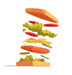 Sandwich ingredients composition vector