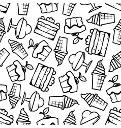 Seamless cakes and ice cream pattern vector