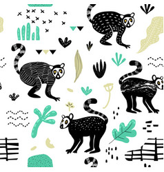 Seamless pattern with cute lemur hand drawn vector
