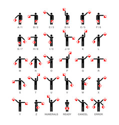 Semaphore flag signals alphabet and numbers vector