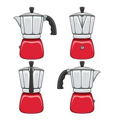 set color geyser coffee makers vector image